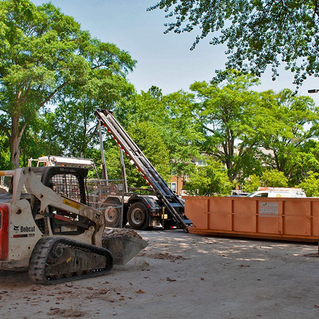 Peachtree Dumpsters on Commercial Construction Site